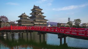 Day to night timelapse of Matsumoto Castle the famous place in Nagano, Japan