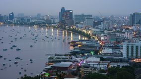 Timelapse of Pattaya city and the many boats docking. Day to night timelapse of Pattaya city and the many boats docking stock video