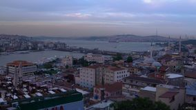 Day to Night Timelapse Shot of Istanbul Galata Bridge and Bosphorus Channel. 4k UHD stock video footage