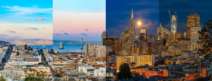 Day to night timelapse timeslice San Franciso panorama with full. Day to night timelapse timeslice panorama of downtown San Franciso with full moon Stock Image