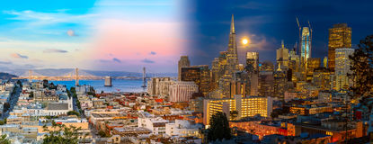 Day to night timelapse timeslice San Franciso panorama with full. Day to night timelapse timeslice panorama of downtown San Franciso with full moon Stock Photos