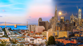 Day to night timelapse timeslice San Franciso panorama with full Stock Photography