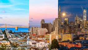 Day to night timelapse timeslice San Franciso panorama with full. Day to night timelapse timeslice panorama of downtown San Franciso with full moon Royalty Free Stock Photo