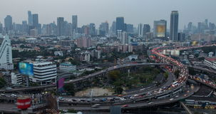 Day to Night of Traffic and City at Bangkok. Timelapse day to night of traffic and city at Bangkok ,Thailand stock video footage