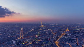 Day to Night transition of Paris in 9 seconds stock video footage