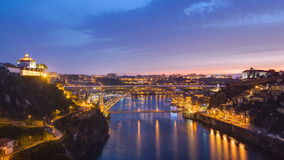 Day to Night view of the historic city of Porto stock video