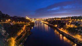 Day to Night view of the historic city of Porto stock video footage