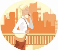 Day in town. Business woman goes to work. In her hand mobile phone. She walks along the bridge on the background of the city Royalty Free Stock Images