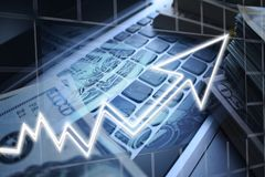 Day Trader Profits With Cash Made On Keyboard High Quality royalty free stock photos