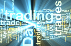 Day trading wordcloud glowing Stock Image