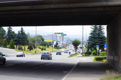 Day traffic at Avram Iancu Street in Cluj-Napoca Royalty Free Stock Photos