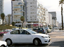 Day traffic on the streets in Bat-Yam, Israel Royalty Free Stock Photography