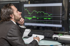 Day traider. Is a day trader in his office working day stock image