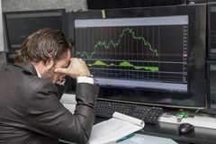 Day traider. Is a day trader in his office working day royalty free stock images