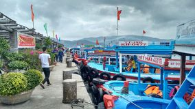 Day trip boats on an island close toNha Trang, Vietnam royalty free stock image