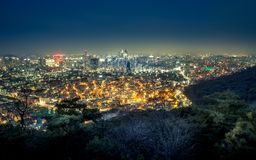Blue hour in Seoul, South Korea royalty free stock photos