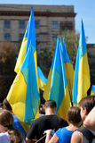 Day of ukrainian flag. In Dnepropetrovsk, 23 August, celebrate Flag Day. All residents are located on street with yellow-blue flag of Ukraine. On the streets of Royalty Free Stock Images