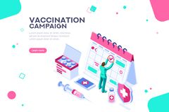 Day of Vaccination Campaign Poster Website Template vector illustration