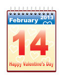 Day of Valentine. Calendar with Day of Valentine date vector illustration Vector Illustration
