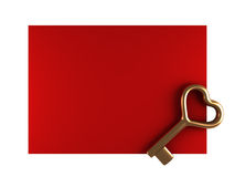Day Valentine card with gold key. Day Valentine red card with gold key Stock Photography