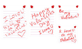Day of Valentine notes Stock Images