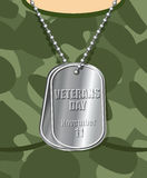 Day veteran. Army badge on his chest from soldier. Military t-sh Royalty Free Stock Photography