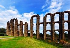 Day view of Acueducto de los Milagros. Merida, Spain Royalty Free Stock Image