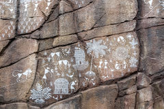 Day view of ancient rock carvings in modern way.  Royalty Free Stock Photo