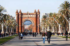 Day view of Arc de Triomf in Barcelona Royalty Free Stock Photo