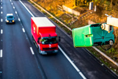Day view of average speed traffic camera over UK Motorway.  royalty free stock photo
