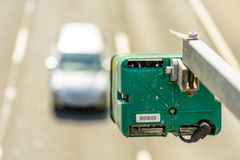 Day view of average speed traffic camera over UK Motorway royalty free stock photo