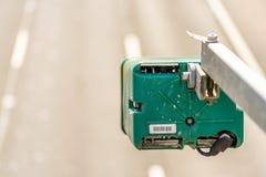 Day view of average speed traffic camera over UK Motorway Royalty Free Stock Image