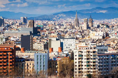 Day  view of  Barcelona cityscape from Montjuic Stock Images