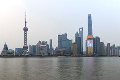 Day view of the Bund, the most scenic spot in Shanghai with the most famous Chinese skyscrapers Royalty Free Stock Images