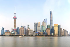 Day view of the Bund, the most scenic spot in Shanghai with the most famous Chinese skyscrapers Stock Photos