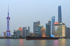 Day view of the Bund, the most scenic spot in Shanghai with the most famous Chinese skyscrapers Royalty Free Stock Image