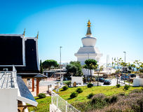 Day view of Butterfly Park and The Buddhist Stupa in Benalmadena town. Andalusia, southern Spain royalty free stock image
