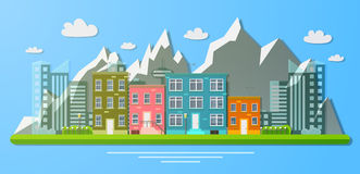 Day view of the city on a background of mountains. Flat  illustration Stock Photos