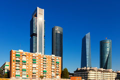 Day view of Cuatro Torres Business Area. Madrid Royalty Free Stock Photography
