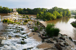 Day view of dam across Ebro at Logrono. La Rioja, Spain Stock Photography