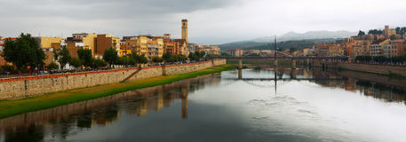 Day view of Ebre river. Tortosa. Spain stock image