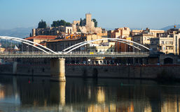 Day view of Ebro  with bridge and Suda Castle in Tortosa Stock Photo