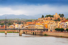 Day view of Ebro  with bridge and Suda Castle in Tortosa Royalty Free Stock Photo