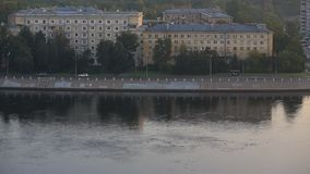 Day view of the embankment of the river stock video