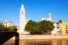 Day view of Girona - Collegiate Church of Sant Feliu Stock Photography