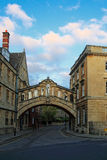Day view of Hertford Bridge at Oxford. Hertford Bridge, popularly known as the Bridge of Sighs, is a covered bridge over New College Lane in Oxford, England stock photo