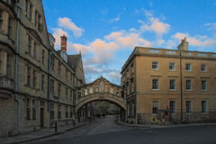 Day view of Hertford Bridge at Oxford. Hertford Bridge, popularly known as the Bridge of Sighs, is a covered bridge over New College Lane in Oxford, England royalty free stock photos