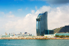 Day view of Hotel W Barcelona from sea side Stock Photos