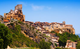 Day view of houses on rocks in Frias. Burgos Royalty Free Stock Photos