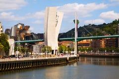 Day view of La Salve Bridge and Guggenheim Museum. BILBAO, SPAIN - JULY 4, 2015: Day view of La Salve Bridge and Guggenheim Museum Royalty Free Stock Images
